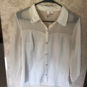 Cream button up blouse